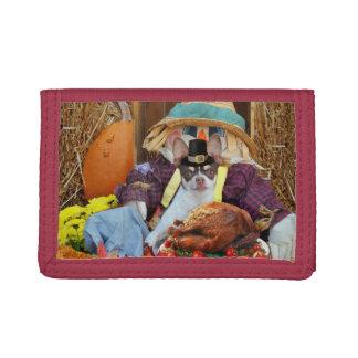 Thanksgiving chihuahua dog tri-fold wallets