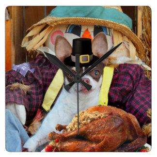 Thanksgiving Chihuahua dog Wall Clocks