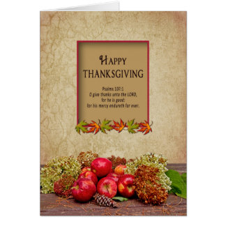Thanksgiving - Christian - Apples/Hydrangeas Fall Greeting Card