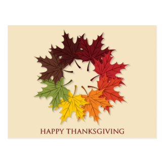 Thanksgiving circle of leaves postcard