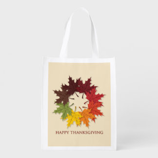 Thanksgiving circle of leaves reusable grocery bag