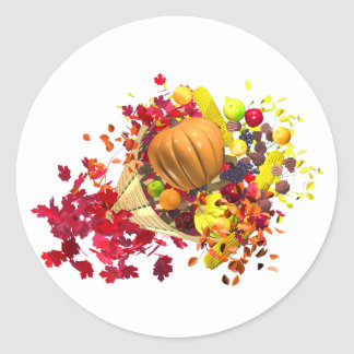Thanksgiving Cornucopia Classic Round Sticker