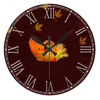 Thanksgiving Cornucopia Large Clock
