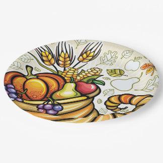 Thanksgiving Cornucopia Paper Plates