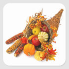 Thanksgiving Cornucopia Square Stickers
