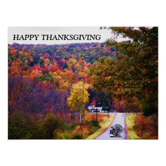 THANKSGIVING COUNTRY ROAD NOVEMBER poster