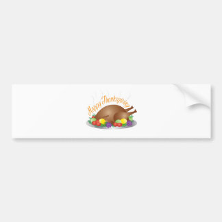 Thanksgiving Day Baked Turkey Dinner Illustration Bumper Sticker