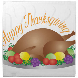 Thanksgiving Day Baked Turkey Dinner Illustration Napkin