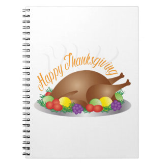 Thanksgiving Day Baked Turkey Dinner Illustration Notebook