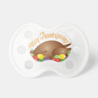 Thanksgiving Day Baked Turkey Dinner Illustration Pacifier