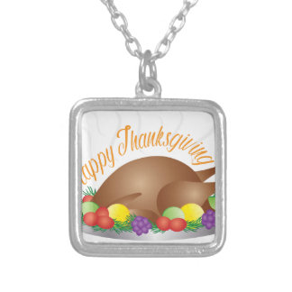 Thanksgiving Day Baked Turkey Dinner Illustration Silver Plated Necklace