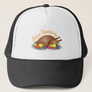 Thanksgiving Day Baked Turkey Dinner Illustration Trucker Hat
