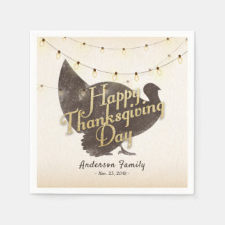 Thanksgiving Day Dinner Party Turkey String Lights Paper Napkins