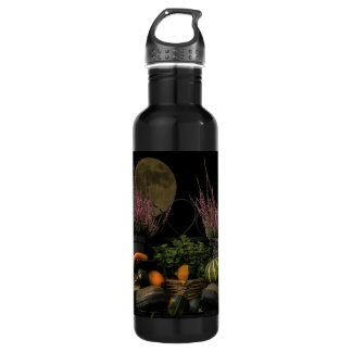 Thanksgiving Day Scene With Bench and Fall Harvest 710 Ml Water Bottle