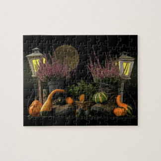 Thanksgiving Day Scene With Bench and Fall Harvest Jigsaw Puzzle