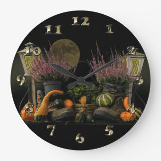 Thanksgiving Day Scene With Bench and Fall Harvest Large Clock