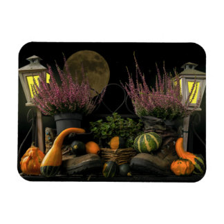 Thanksgiving Day Scene With Bench and Fall Harvest Magnet