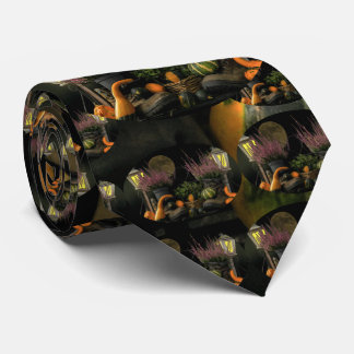 Thanksgiving Day Scene With Bench and Fall Harvest Tie