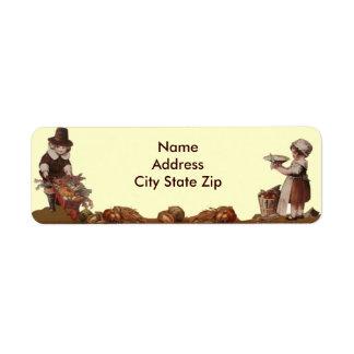 Thanksgiving de cru d enfants de pèlerin étiquette d'adresse retour