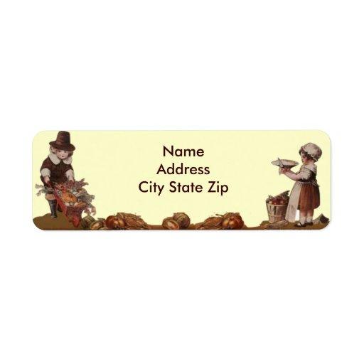 Thanksgiving de cru d'enfants de pèlerin étiquette d'adresse retour