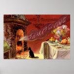 Thanksgiving Dinner Black Cat Fireplace Turkey Poster
