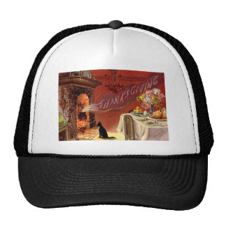 Thanksgiving Dinner Black Cat Fireplace Turkey Trucker Hat