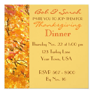 Thanksgiving Dinner - Fall Leaves - Invitation