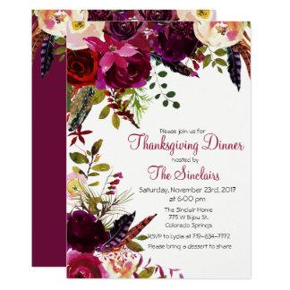 Thanksgiving Dinner Floral Invitation