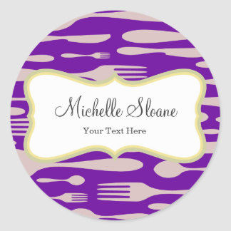 Thanksgiving Dinner Forks, Spoon and Knife Classic Round Sticker