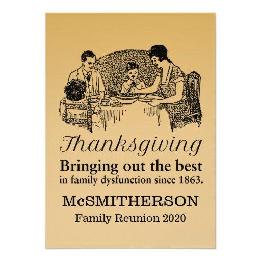 Thanksgiving Dinner Funny Family Reunion Invitatio Personalized Invitations