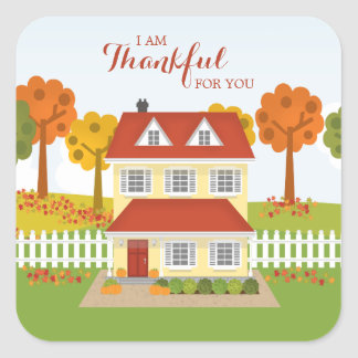 Thanksgiving Dinner Open House Square Sticker