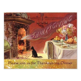 """Thanksgiving Dinner Party 4.25"""" X 5.5"""" Invitation Card"""