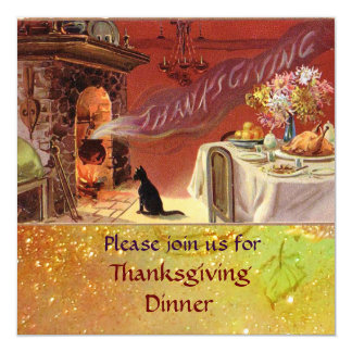 """Thanksgiving Dinner Party 5.25"""" Square Invitation Card"""