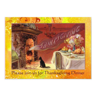 """Thanksgiving Dinner Party 5"""" X 7"""" Invitation Card"""