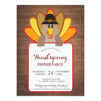 Thanksgiving Dinner Party Turkey Invitation Card