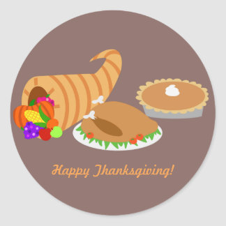 Thanksgiving Dinner Round Sticker