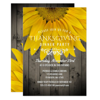 Thanksgiving Dinner Rustic Sunflower Barnwood Card