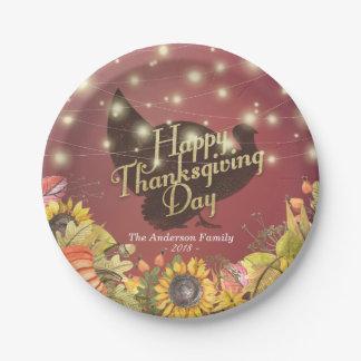 Thanksgiving Dinner Turkey Autumn Leaves Pumpkins Paper Plate
