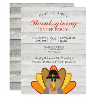 Thanksgiving Dinner Turkey rustic chic Invitation