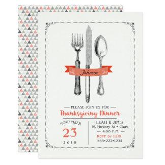 Thanksgiving Dinner Utensils Peach Grey Card