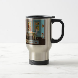 Thanksgiving Dinning Room with Picture Window Travel Mug