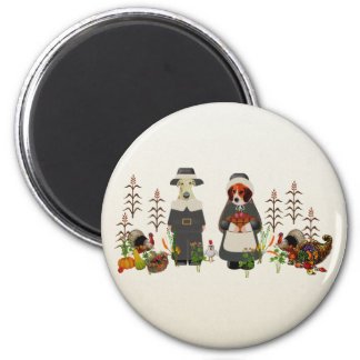 Thanksgiving Dogs 2 Inch Round Magnet
