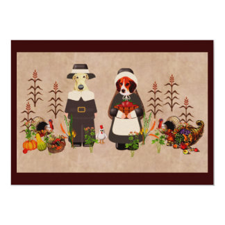 "Thanksgiving Dogs 5"" X 7"" Invitation Card"