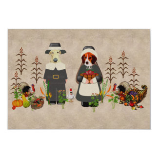 Thanksgiving Dogs 3.5x5 Paper Invitation Card