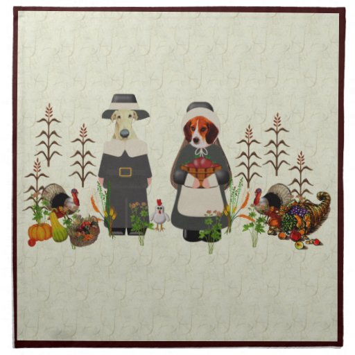 Thanksgiving Dogs Printed Napkins