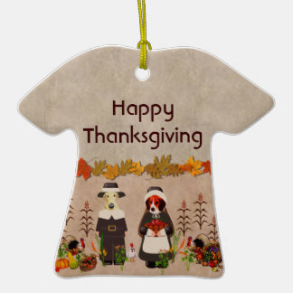 Thanksgiving Dogs Double-Sided T-Shirt Ceramic Christmas Ornament