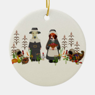 Thanksgiving Dogs Christmas Ornaments