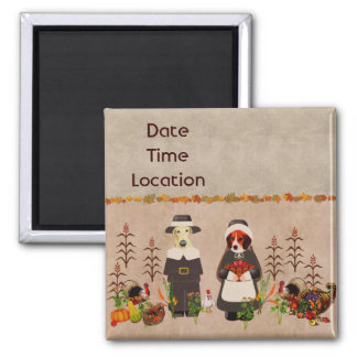 Thanksgiving Dogs Square Magnet