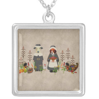 Thanksgiving Dogs Square Pendant Necklace