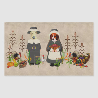 Thanksgiving Dogs Rectangle Stickers